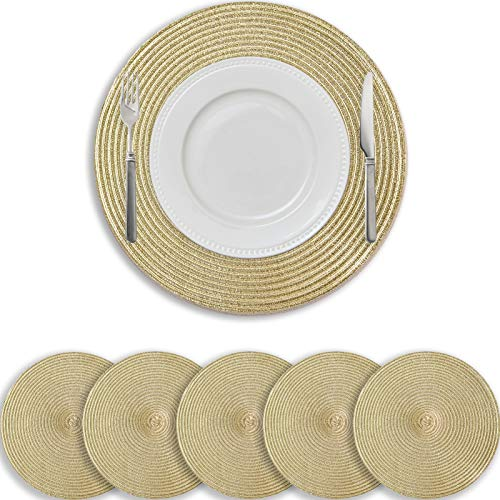 wiipara Set of 6 Round Woven Placemats Washable Heat Resistant Place Mats Dirty Resistant and Tear-Resistant Place Mats for Kitchen Dining Table Wedding Diameter 38 cm (Gold)