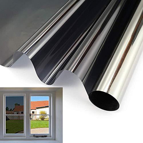ZXFSpiegelfolie40 X 200 cm Dekor Solar Tint Fensterfolie Einwegspiegel Vision Folie Wrap Klarglas Aufkleber Abziehbilder (Schwarz-Silber) Uv-Ablehnung