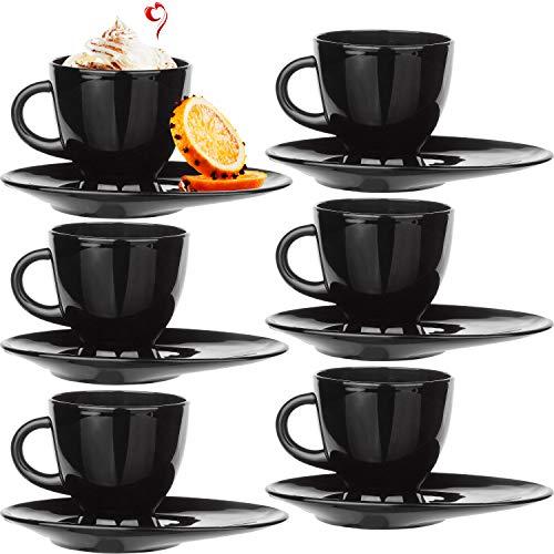 PLATINUX Kaffeetassen Teetassen mit Griff und länglicher Untertasse Set 6 Teilig Cappuccino Gläser Kaffeebecher Geschirr Schwarz
