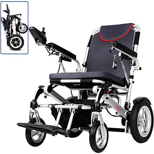 LAYG Leichter Faltbarer Elektrorollstuhl Li-Ion-Akku,Verstellbare Armlehne,Schnell zusammenklappbarer Rollstuhl (Fernbedienung),Elektrischer manueller Modus,Power Kompakter Mobilitätshilfe-Rollstuhl