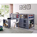 Naomi Home Low Study Loft Bed Multifunctional Space Saving Bunk Bed with Ladder,...