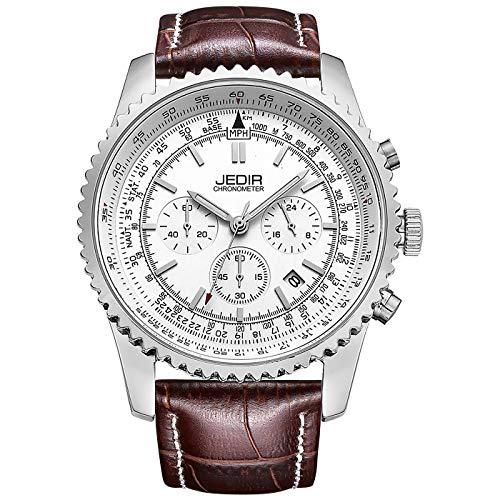 JEDIR Herren Chronograph Uhren Sport Quarz Armbanduhr Weiß Datumsanzeige mit braun Lederarmband