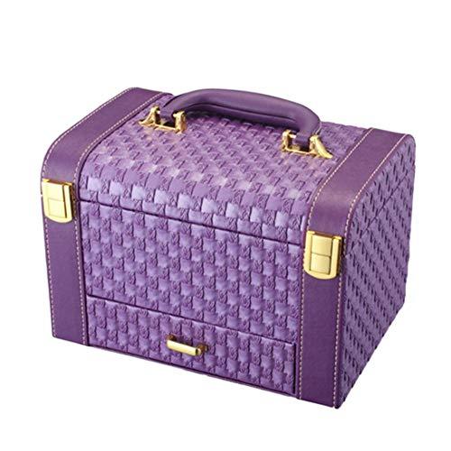 Originalidad portátil Caja de patrón tejida Estuche de almacenamiento de maquillaje Organizador de escritorio Adornos de joyería Cajones Organizador de cosméticos - Púrpura