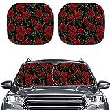 Renewold 2 parasoles para parabrisas de coche, 2 unidades, con estampado de rosas rojas, de poliéster, para mantener tu coche fresco.