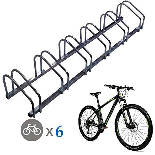 EasyGo Floor Stationary Six Bike Wheel Rack, Indoor  Outdoor Bike Stand