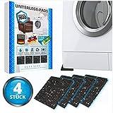 4 STÜCK Waschmaschinen XXL Unterlage Pads Gummipads Anti Vibrationsdämpfer sicherer Stand für Trockner Möbel und Schränke - Lautsprecher Gummimatte - VERSION 2020 - mit Waage Unterlegscheiben Matte