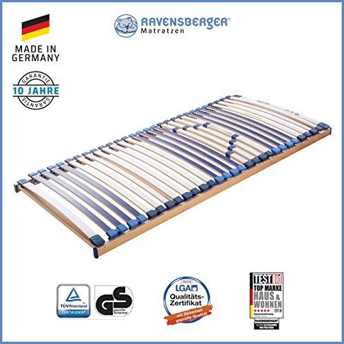 RAVENSBERGER MATRATZEN Lattenrost Spezial (Medi XXL) FIX 5-Zonen-30-Leisten-BUCHE- Schwergewichtsrahmen | Starr | MADE IN GERMANY - 10 JAHRE GARANTIE | TÜV/GS + Blauer Engel - zertifiziert | 90 x 200 cm