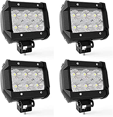 LED Pods 4Pcs 4Inch 18W LED Light Bar Cube Work Light Flood Beam Offroad Driving Fog Lights Waterproof IP67 LED Cube Lights for Truck Boat ATV UTV 12-24V