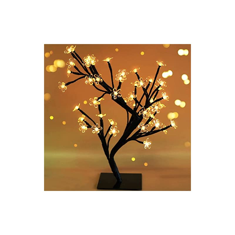 """silk flower arrangements bright zeal 18"""" led cherry blossom tree light with timer - battery operated led lighted flower table top - christmas tree spring home decor - lighted bonsai tree table lamp modern home decor bzy"""