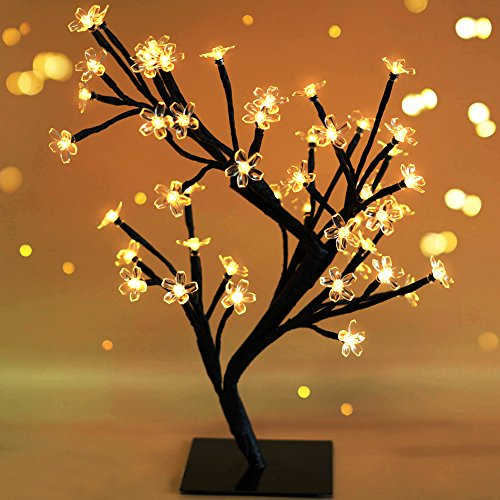 Bright Zeal 18' Battery Operated LED Cherry Blossom Tree Lights (6hr Timer) - Bonsai Lighted Tree - Lighted Cherry Blossom Tree Light Tabletop LED Tree Lamp - Home Decor Artificial Plants Light BZY
