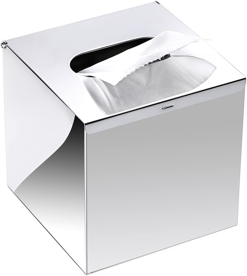 Bombing free shipping Sumnacon Sale special price Square Stainless Steel Tissue Wall Cover Box - Mounted