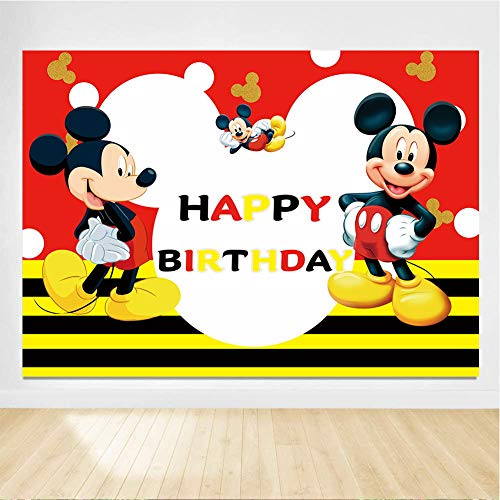 Gemten Mickey Mouse Party Supplies 7x5FT Photo Backdrop for Boy Girl Kids Baby Shower Birthday Party Decorations Bedroom Wall Tapestry Blanket Home Decor