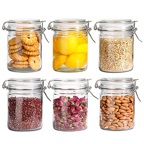 Comsaf 6 pezzi Barattolo di Vetro Ermetici, Contenitore Vetro con Chiusura a Leva, 750ml Trasparente Conservazione per Cereali, Frutta,Verdura, Spuntini, Biscotti, Farina, Pasta e Zucchero
