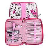 Juegos de uñas para mujeres Manicura con flor de durazno Paquete rosa 16 piezas, herramientas de cuidado de pedicura profesional de acero inoxidable de alta calidad