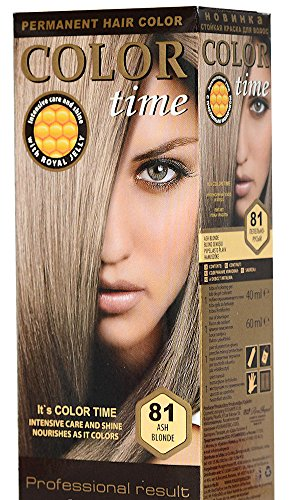 Color Time Haarfarbe Permanent, mit Gelée royale, 81 Aschblond