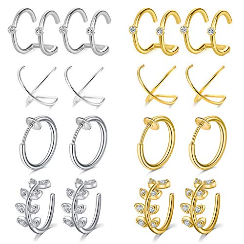 Mayhoop 16 Pcs Ear Cuffs Earrings Fake Piercings Stainless Steel Clips on Helix Cartilage Earring Fake Nose Lip Rings Non Piercing Wrap Silver Gold Set for Women Men