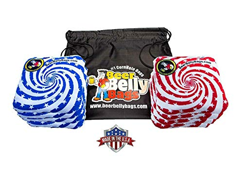 Beer Belly Bags Cornhole - Performance Series 8 Bags ACL Approved Resin Filled - Double Sided - Sticky Side | Slick Side(Stars & Stripes)