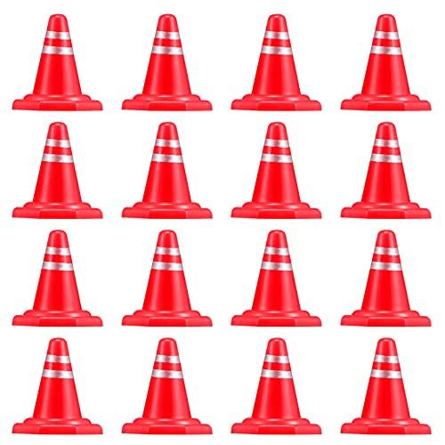 Toddmomy 30 Unidades de Conos de Tráfico en Miniatura Juguetes de Simulación Bloques de Carretera Señales de Tráfico Conos de Tráfico para La Construcción de La Ingeniería de La Mesa de