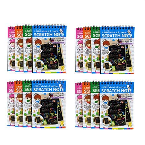 Paquete de 16 blocs de notas para arañazos con 4 colores diferentes al azar, bloc de notas para niños y lápiz capacitivo de madera con cada nota.