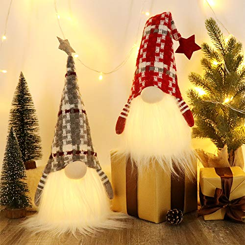 HAUMENLY Swedish Christmas Gnome Lights, Scandinavian Tomte 6 Hours Timer, Home Party Decoration (B) - 18x4.8 Inches,Pack of 2