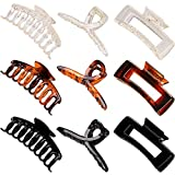 Whaline 9Pcs Large Hair Claw Clips 4.3Inch Hair Catch Clip Nonslip Jaw Clamp Clips Strong Hold Butterfly Clip Clamp Rectangle Hair Clip Hair Styling Vintage Hair Accessories for Women Girl