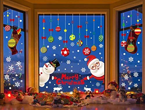 CMTOP Weihnachten Aufkleber Fenster Aufkleber Santa Schneemann Bunte Fruchtbällchen Wandaufkleber Statisch Schaufenster Aufkleber Dekoration (8 Blatt)