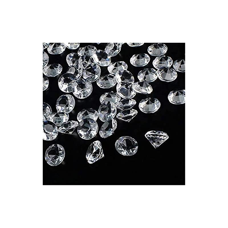 silk flower arrangements outuxed 300pcs 20mm clear wedding table scattering crystals acrylic diamonds gemstones wedding bridal shower party decorations vase fillers, 1.5 lb, with 1 large velvet pouch
