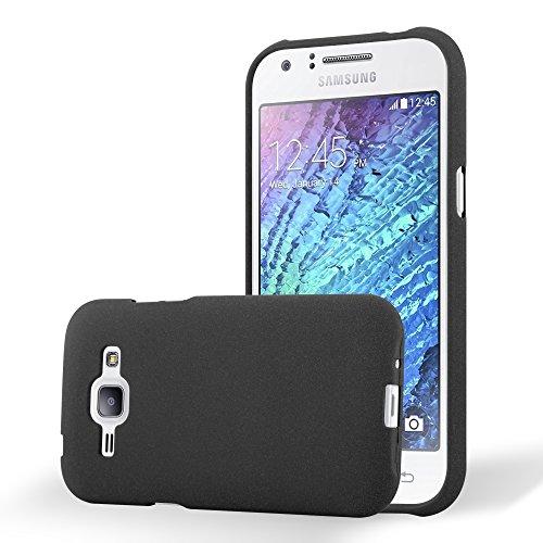 Preisvergleich Produktbild Cadorabo Hülle für Samsung Galaxy J1 2015 (5) - Hülle in Frost SCHWARZ Handyhülle aus TPU Silikon im matten Frosted Design - Silikonhülle Schutzhülle Ultra Slim Soft Back Cover Case Bumper