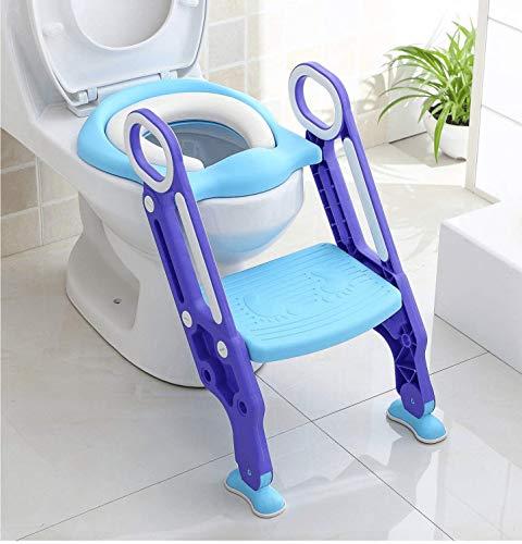 Keplin - Asiento de inodoro ajustable para bebé con escalón para niños y niñas (Morado)