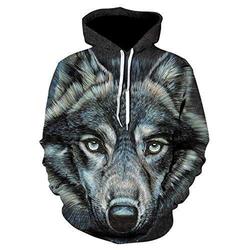 Moda Cool Wolf Hoodies Sudaderas 3D con Sombrero Hombres/Mujeres Animal Print Wolf...