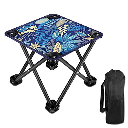 Camping Stool Small Chair for Folding Stool Lightweight Sturdy Portable Stool with Carry Bag for Travel Camping Fishing Hiking Picnic Hunting Beach Garden BBQ Blue Leaf