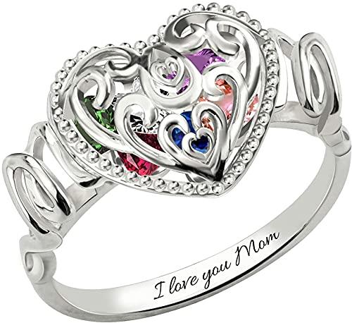 Anillo de plata de ley 925 MSYOU personalizado anillo de jaula en forma de corazón de madre con piedra de nacimiento chapado en platino Plata de ley 925 para mujer plata oro oro rosa Plata