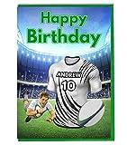 Maillot de rugby carte d'anniversaire–Zebre Couleurs–personnalisé avec un nom et numéro