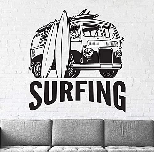 Etiqueta de la pared Mural decorativo Surf Tabla de surf Arte Playa Deportes Regalo Niño Niña Niños Habitación Calcomanía 42X43Cm