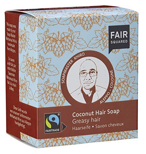 FAIR SQUARED festes Kokos Shampoo -Haarseife Greasy 2 x 80 Gramm - für schnell nachfettendes Haar - mit Fairtrade-Kokosnussöl - vegane Naturkosmetik - Zero Waste