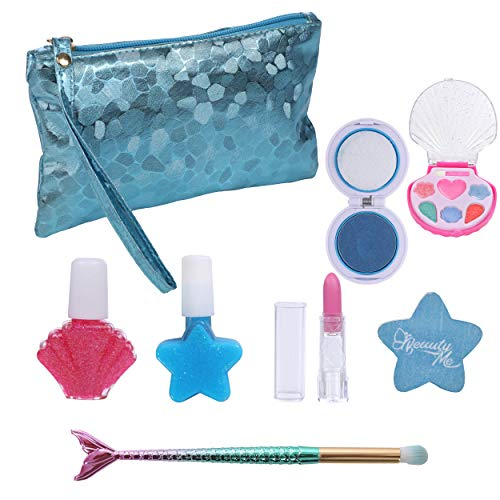 DRESS 2 PLAY Pretend Play Makeup Mermaid Fairy Ocean Themed Cosmetic Set with Blue Sea Pebbled Metallic Bag and Mermaid Tail Brushes for Little Mermaid Girls, Washable Non Toxic Makeup Set
