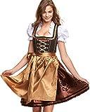 Adelstrachten Dirndl Damen Midi Set 3 teilig mit Bluse und Schürze I Trachtenkleid Damen 3 TLG in Schwarz Kombination von Gr 34 bis 46 KF016 (34, Kf101 Gold)