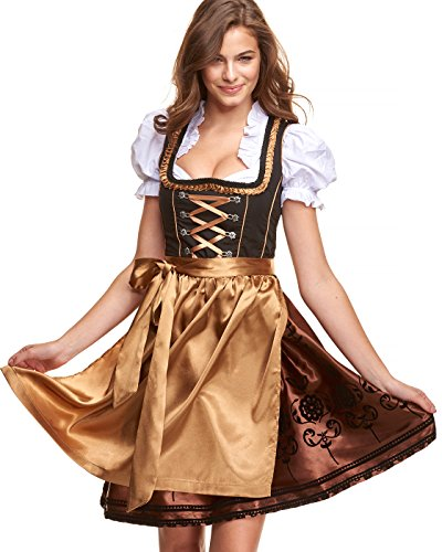 Adelstrachten Dirndl Damen Midi Set 3 teilig mit Bluse und Schürze I Trachtenkleid Damen 3 TLG in Schwarz Gold von Gr 34 bis 46 KF102 (38, Gold)