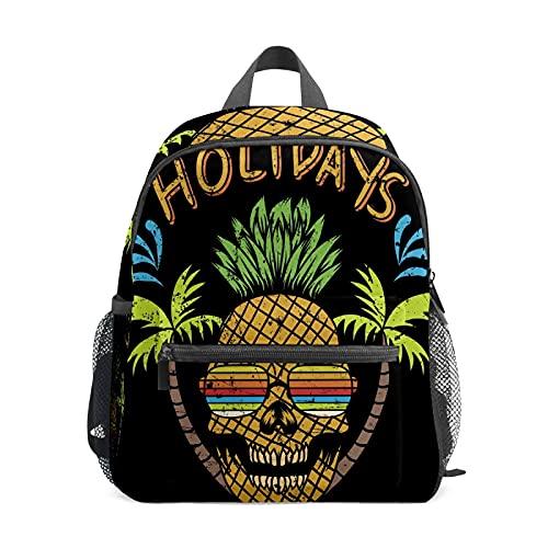 Divertida mochila de verano con calavera de piña para niña y niños Mini viaje Daypack Primario Preescolar Estudiante Bookbag pequeña bolsa escolar