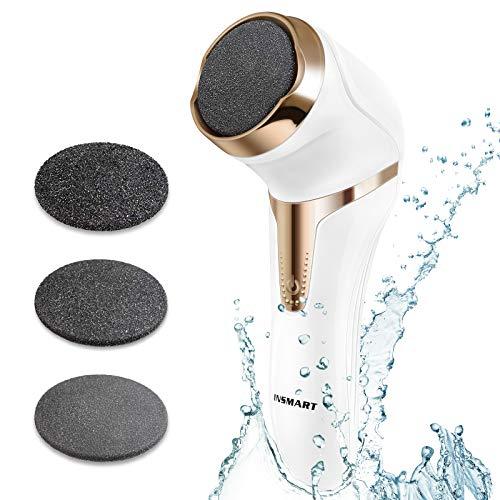 INSMART Elektrischer Hornhautentferner, Elektrisch Fußpflege Hornhauthobel Hornhautraspel, USB Wiederaufladbar Hornhaut Entfernun mit 3 Ersatzrollen und 2 Geschwindigkeiten, IPX7 wasserdicht