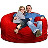 ULTIMATE SACK Bean Bag Chairs in Multiple Sizes and Colors: Giant Foam-Filled Furniture - Machine Washable Covers, Double Stitched Seams, Durable Inner Liner. (6000, Red Suede)