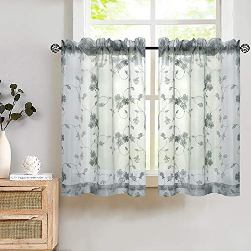Tier Curtains 36 Inch Length Kitchen Cafe Floral Embroidered Sheer Window Drapes Grey Semi Sheers Voile Floral Curtain Rod Pocket for Bathroom 1 Pair