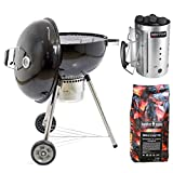 MasterCook - Barbecue 57cm a carbonella con ruote MasterCook. OMAGGIO Accenditore MasterCook e bricchette 5 Kg. BBQ Compatto, barbecue con ruote, BBQ a carbone, barbecue portatile