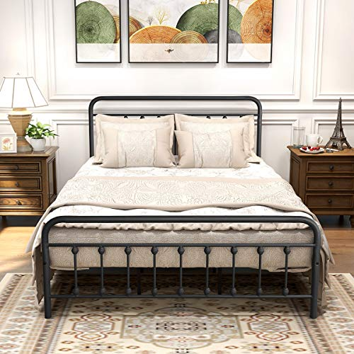 DUMEE Black Metal Bed Frame Queen Size with Headboard and Footboard Metal Platform Slats Support,Textured Black