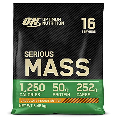 Optimum Nutrition Serious Mass Gainer, Proteine Whey in Polvere per Aumentare la Massa Muscolare con Creatina, Cioccolato Burro di Arachidi, 16 Porzioni, 5.45 kg, il Packaging Potrebbe Variare
