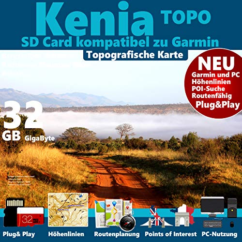 Preisvergleich Produktbild KENIA GPS Karte microSD für Garmin Navi,  PC und MAC