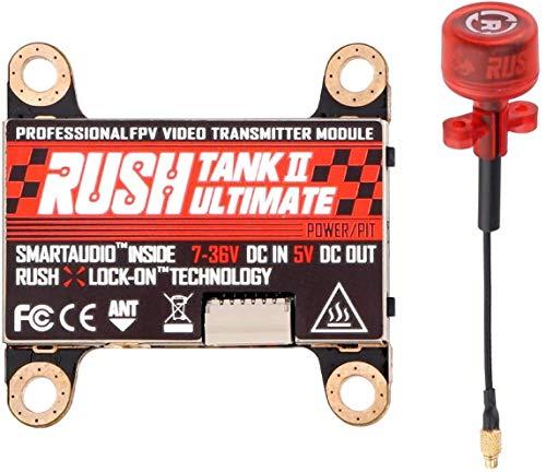 FPV VTX Rush Tank II 5,8GHz FPV Video Sender Empfänger mit Externer Audiofrequenz Von 48 und TBS Smart Audio im MMCX-Anschluss Pit Modus Schaltbarer mit Rush Cherry FPV Antenne für FPV Racing Drone