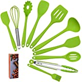 COVVY Home Silicone Kitchen Utensils Set(10 Piece) Heat Resistant Baking & Cooking Utensils Non Stick - Non Scratch Cooking Utensils Kitchen Good Helper (Green)