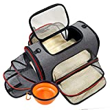 Pet Travel Carrier Bag, 3 Way Expandable Soft-Sided Cat Carrier Safe and Cosy for Cats and Dogs, TSA Airline Approved Puppy Carrier Backpack with Foldable Bowl