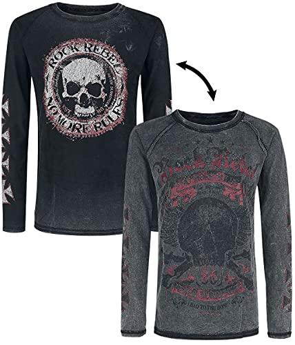 Rock Rebel by EMP Lucky Twice Hombre Camiseta Manga Larga Gris S, 100% algodón, Vintage Regular